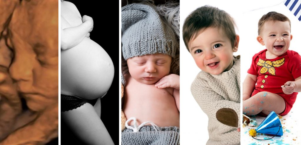 Bump to birthday experience. A selection on 5 images - 4D scan, bump, newborn, baby, and cake smash.