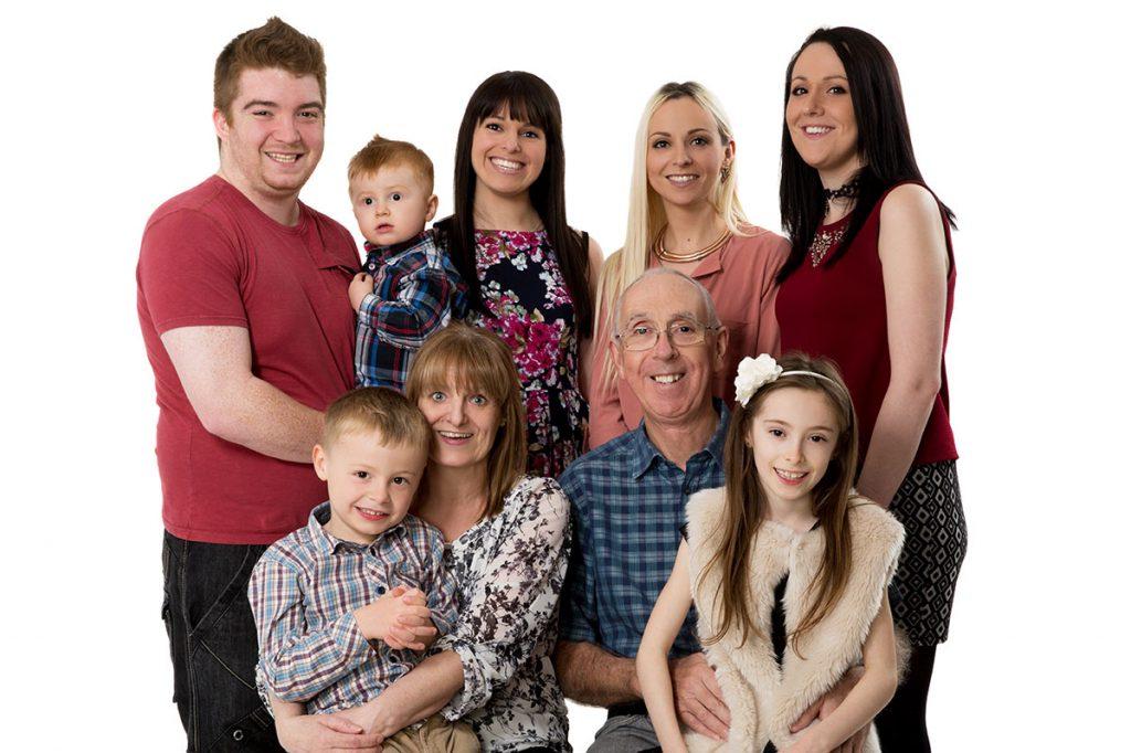 generation family photo. Grandparents, children, grandchildren